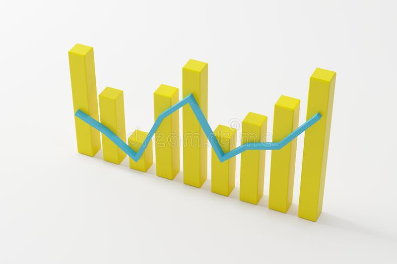 Yellow successful bar graph on white background stock image