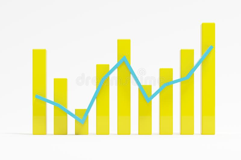 Yellow successful bar graph on white background stock photo