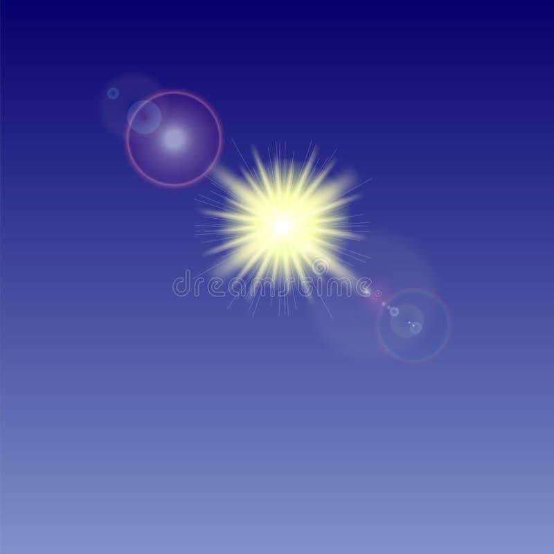Yellow Sun Background. Summer Pattern. Blue Sky vector illustration