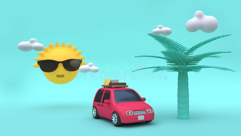 Yellow sun clouds coconut tree cartoon style red car with many objects 3d rendering holiday,going-travel,sea,beach,summer. 3d yellow sun clouds coconut tree stock illustration