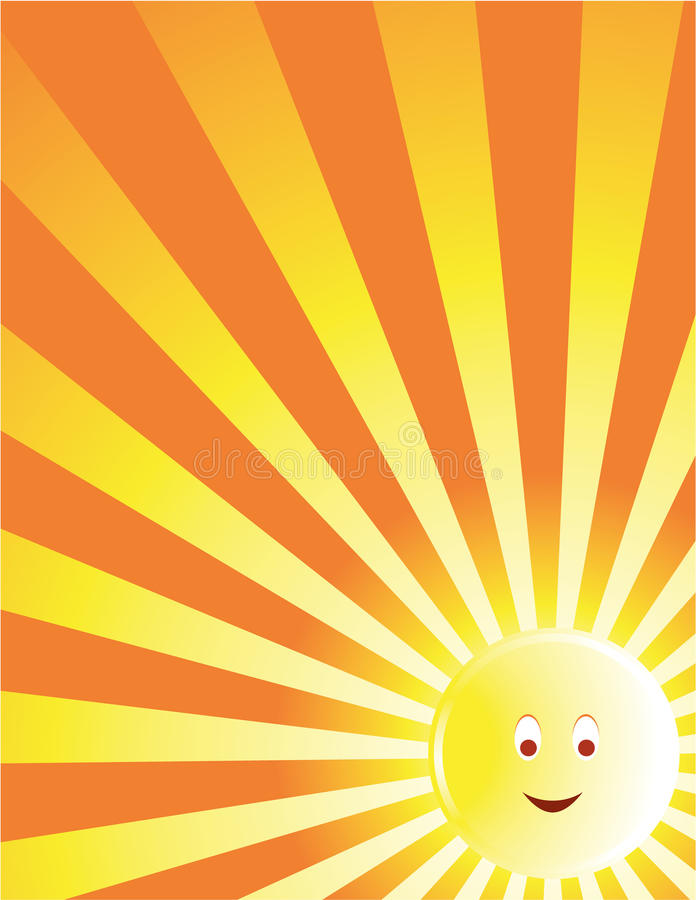 Yellow sun face ray background royalty free illustration