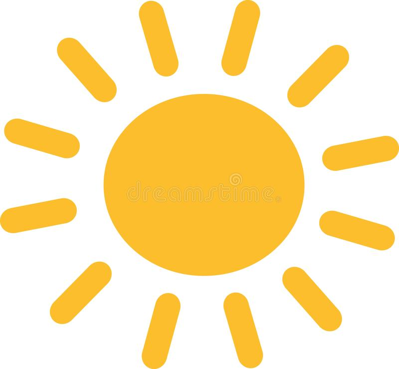 Yellow sun icon. Sunshine vector royalty free illustration