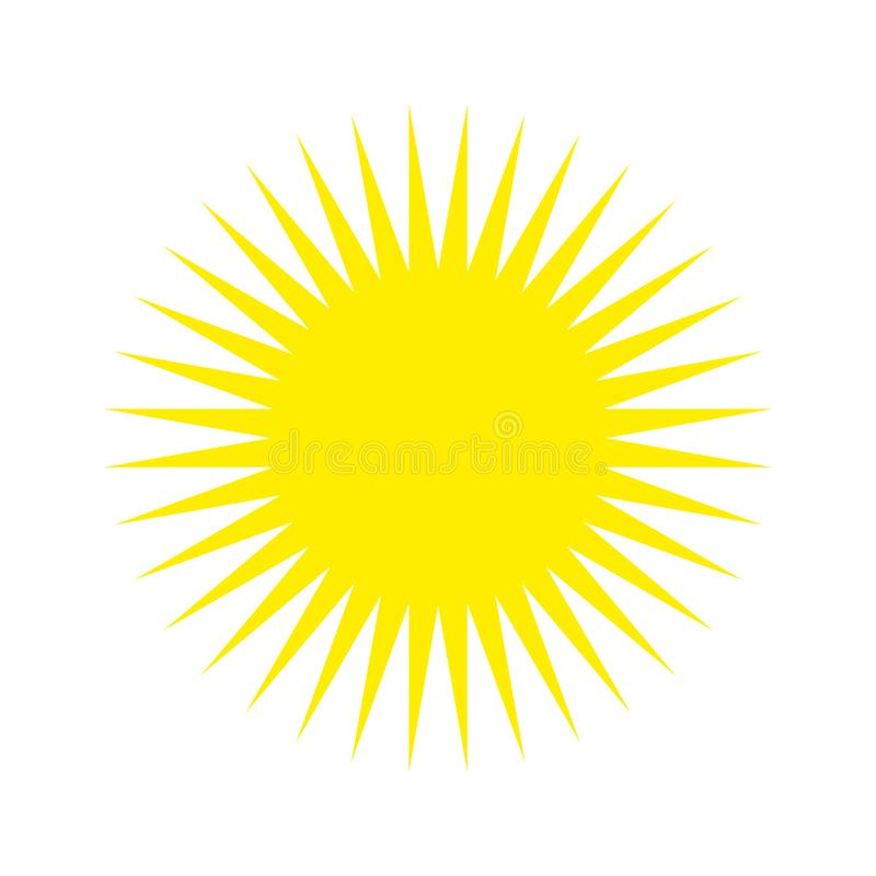 Yellow Sun light  icon vector eps 10.  yellow Sun with rays sign on white background. stock illustration