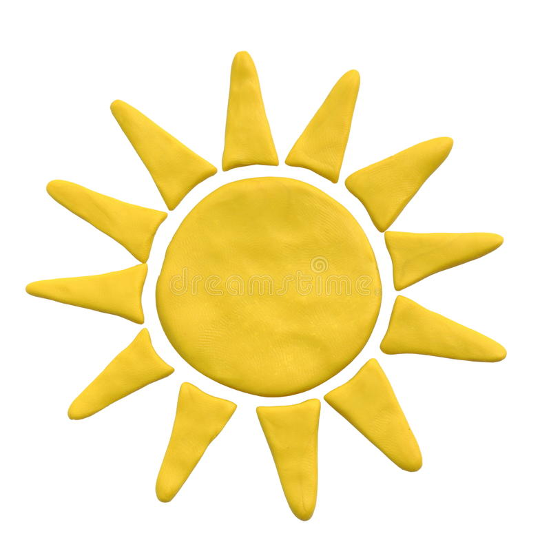 Yellow sun from plasticine on white background royalty free stock image