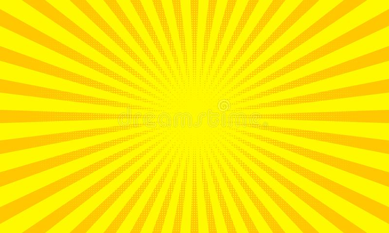 Yellow sunbeams or sun rays background with dots pop art design. Vector abstract background royalty free illustration