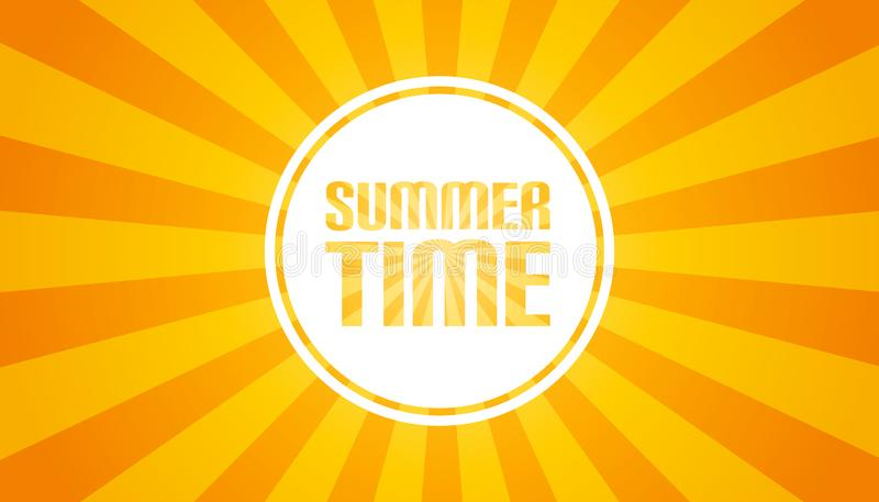 Yellow Sunburst Background - Summer Time Banner - Vector Illustration stock illustration