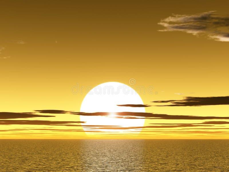 Yellow sunet above ocean stock image