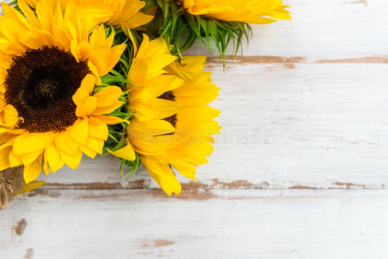 Download Yellow Sunflower Bouquet On White Rustic Background Stock Image
