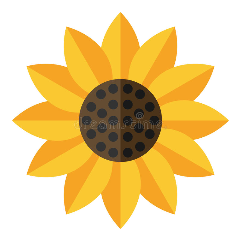 Yellow Sunflower Flat Icon Isolated on White. Yellow sunflower flat icon, isolated on white background. Eps file available royalty free illustration