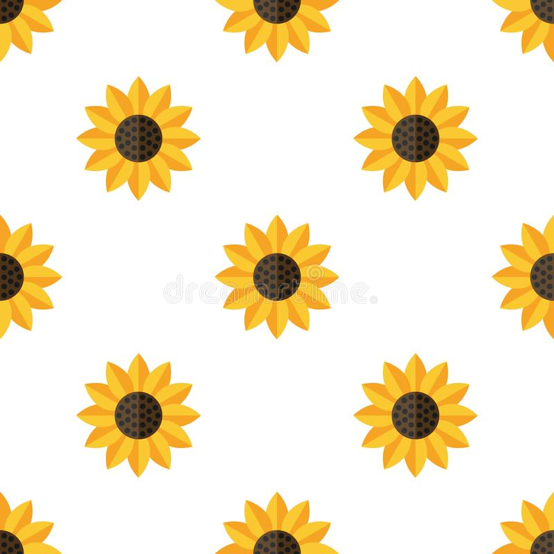Yellow Sunflower Flat Icon Seamless Pattern. A seamless pattern with a yellow sunflower flat icon, isolated on white background. Useful also as design element royalty free illustration