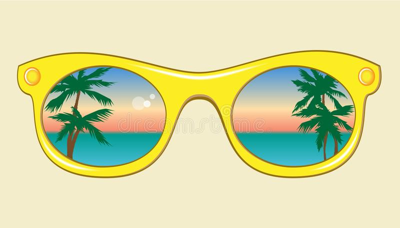 Yellow sunglasses with a reflection of sea, sky and palm trees royalty free illustration