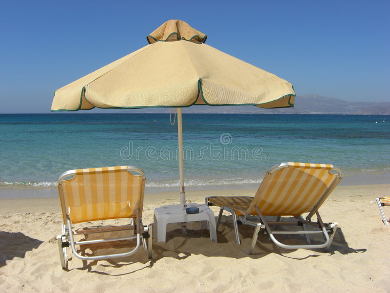 Yellow sunshade royalty free stock photography