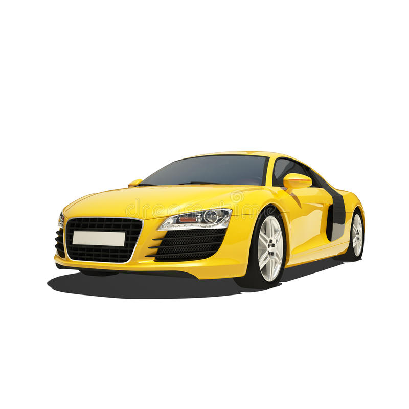 Yellow Super Car Isolated on the White Background royalty free illustration