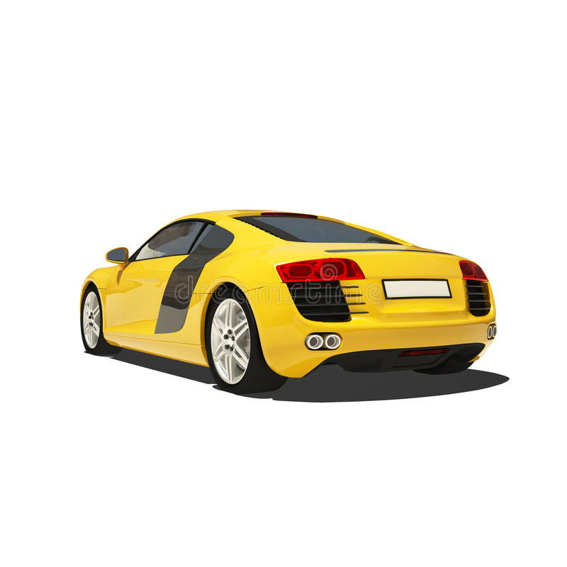 Download Yellow Super Car Isolated On The White Background Stock Illustration - Illustration of nobody, clipping: 34042083