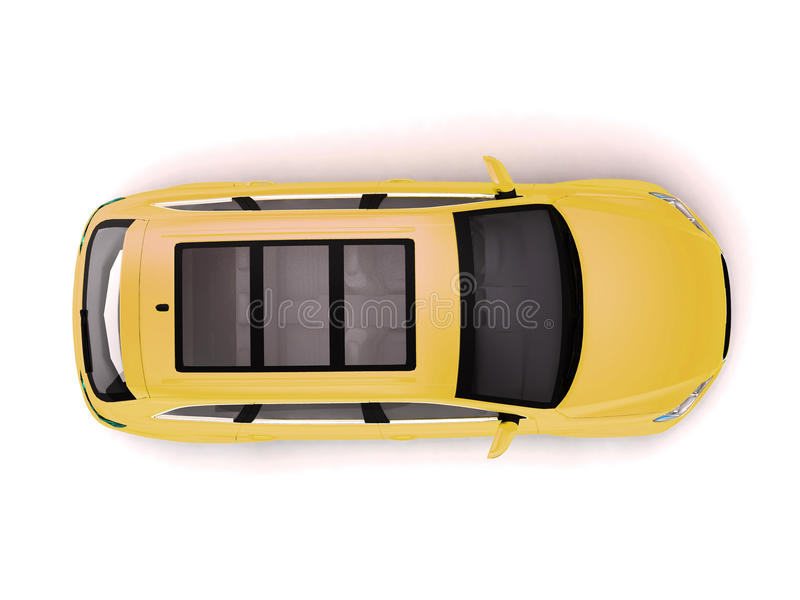 Yellow Suv Top View Royalty Free Stock Photo Image