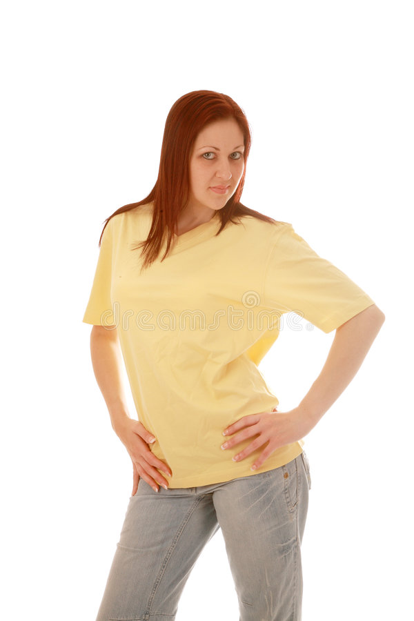 Yellow t shirt girl royalty free stock photo