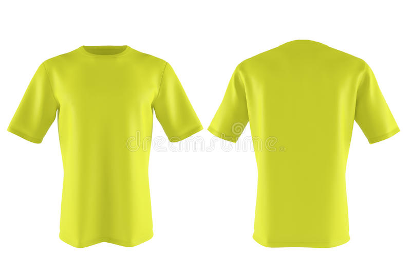 Yellow T-shirt isolated on white. 3d render. Yellow T-shirt isolated on white background. 3d rendering royalty free illustration