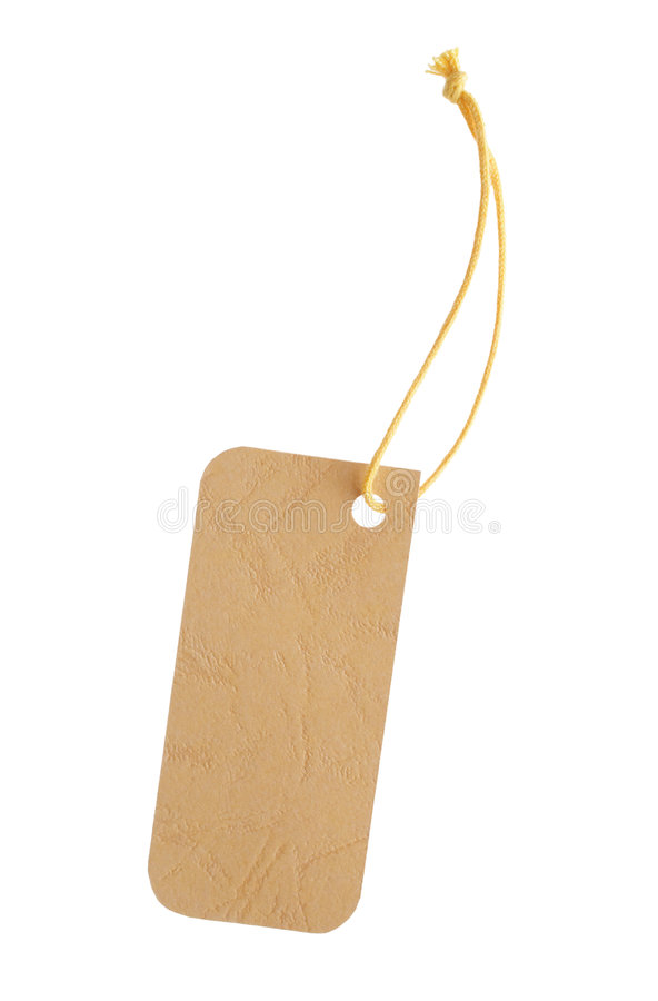 Yellow Tag. For text messages on a white background stock photos