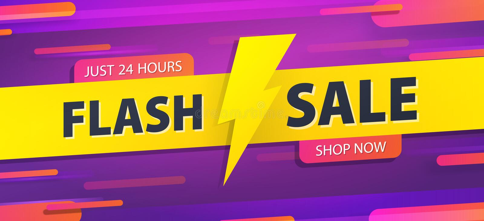 Yellow tag Flash sale 24 hour promotion website banner heading design on graphic purple background vector for banner or poster. stock illustration
