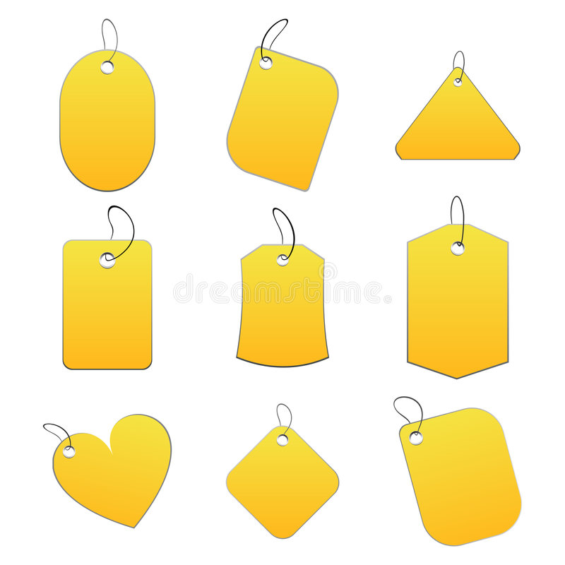 Download Yellow tags stock vector. Image of simple, prices, sign - 6518759