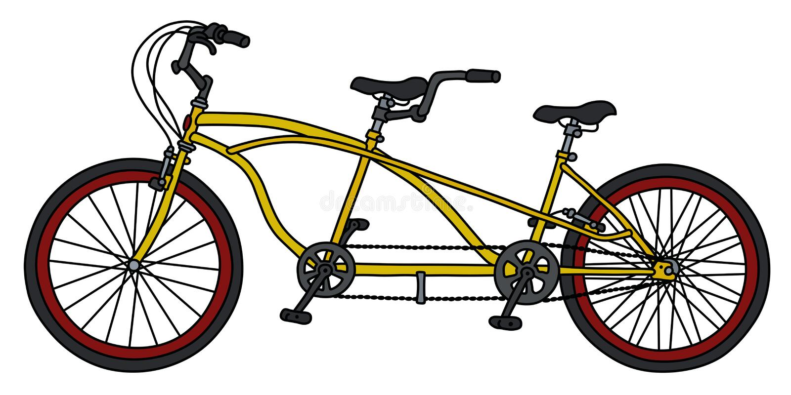 The yellow tandem bicycle vector illustration