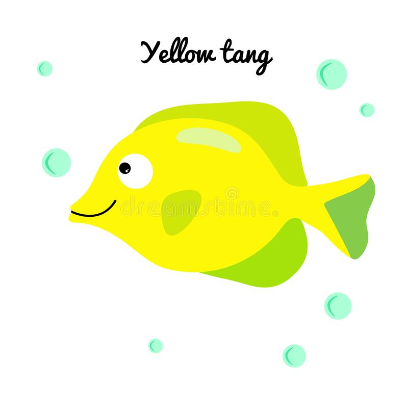 Yellow tang Cartoon aquarium fish with water bubbles. character smiling happily of sea animal Print for clothes, baby shower. Yellow tang Cartoon aquarium fish royalty free illustration