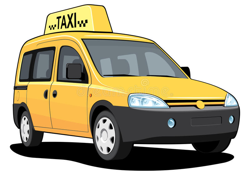 Yellow taxar royaltyfri illustrationer