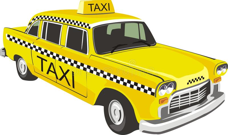 Yellow taxi. Vector scene of yellow taxi