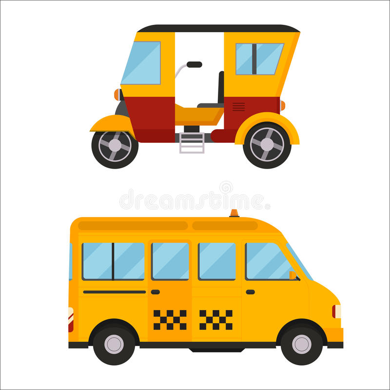 Yellow taxi bus vector illustration isolated car city travel cab transport traffic road street wheel service symbol icon. Taxi yellow bus car isolated on white royalty free illustration
