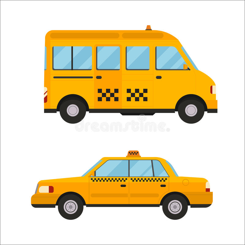 Yellow taxi bus vector illustration isolated car city travel cab transport traffic road street wheel service symbol icon. Taxi yellow bus car isolated on white stock illustration