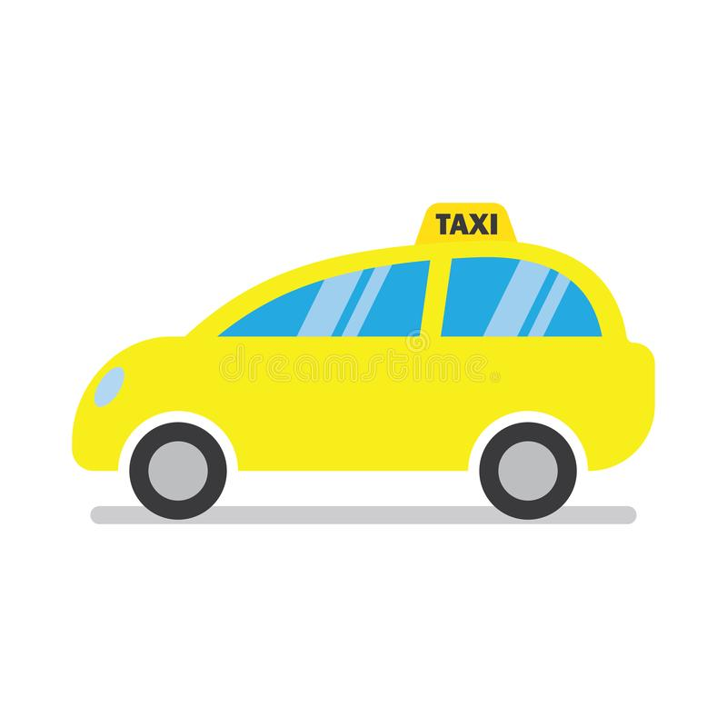 Yellow taxi cab icon. Isolated on a white background. Vector illustration stock illustration