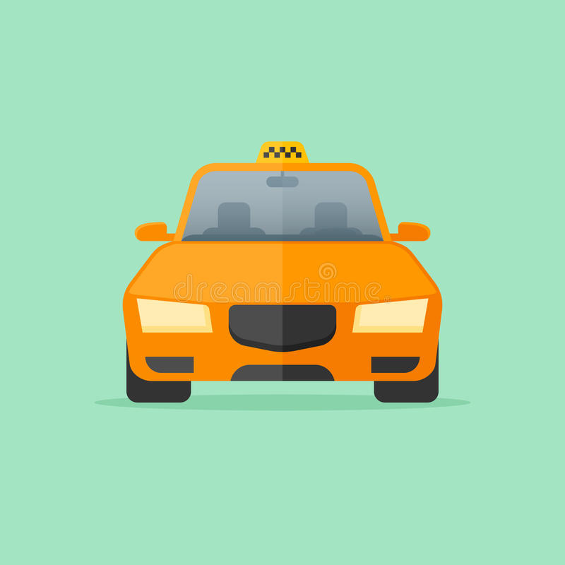 Yellow taxi cab isolated on green background. Front view. Car vector illustration. Flat style icon stock illustration