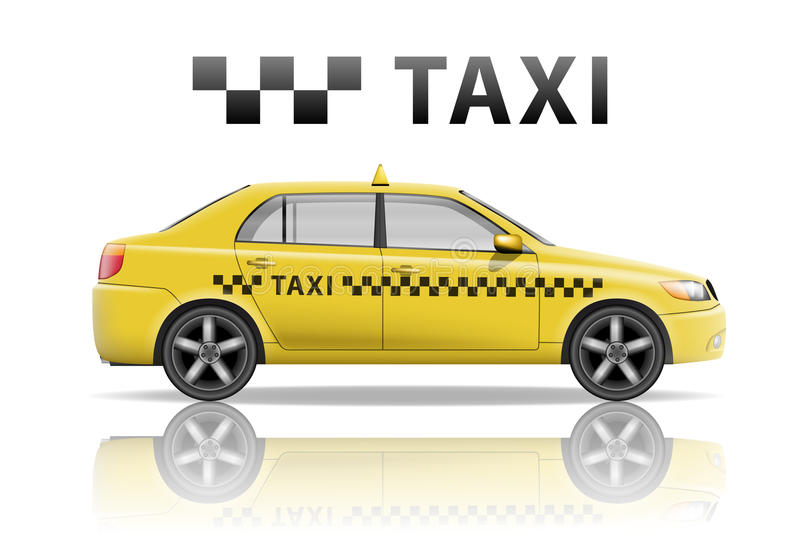 Yellow taxi cab isolated on white background. Realistic city taxi mockup. Vector illustration. EPS 10 stock illustration