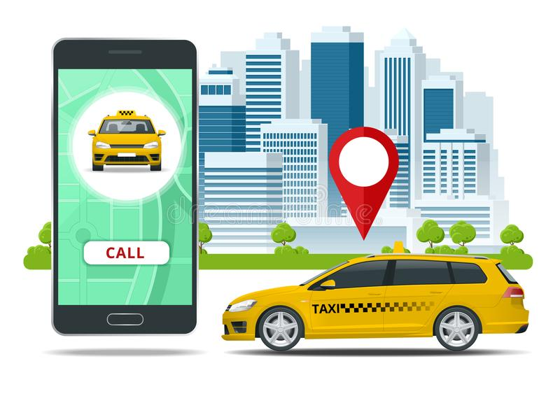 Yellow taxi cab and mobile application in phone with city background. Mobile app for booking service. Flat vector stock illustration