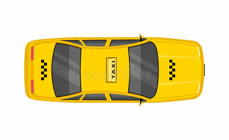 Taxi car top view. Yellow taxi cab sedan. flat style vector illustration isolated on white background vector illustration