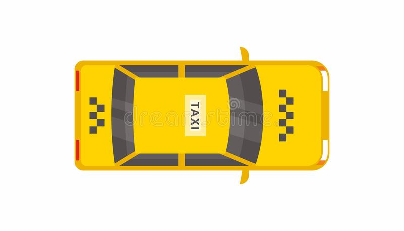 Taxi car top view. Yellow taxi cab sedan. flat style vector illustration isolated on white background stock illustration