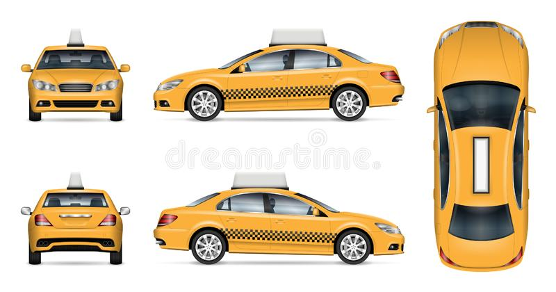 Yellow taxi cab vector illustration. Taxi car vector mockup on white background for vehicle branding, corporate identity and advertisement. View from side, front stock illustration