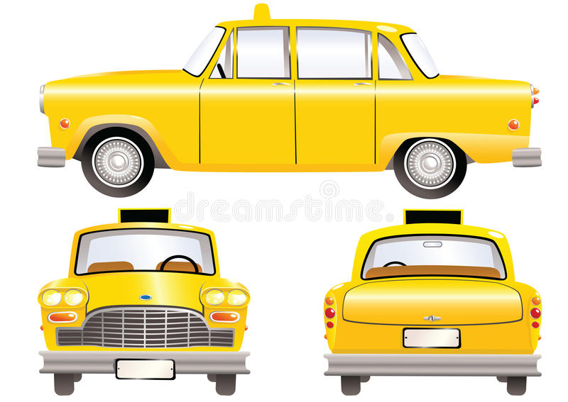 Yellow taxi cabs. Three different perspectives of an old fashioned yellow taxi cab. E.P.S. 10 vector file included with image, isolated on white royalty free illustration