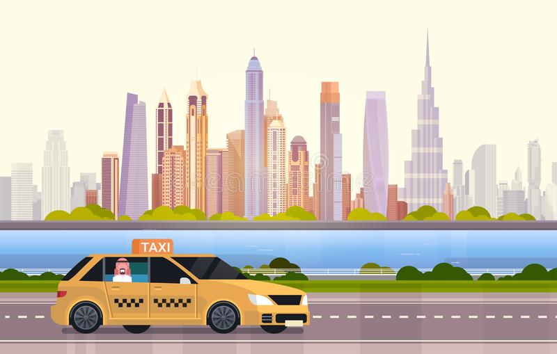 Yellow Taxi Car Cab On Road Over Dubai City Background. Flat Vector Illustration vector illustration