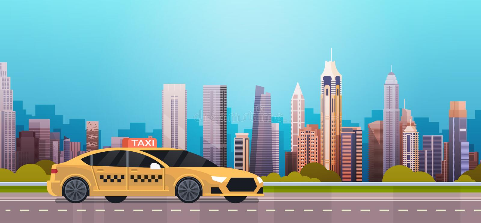 Yellow Taxi Car Cab On Road Over Modern City Background. Flat Vector Illustration stock illustration