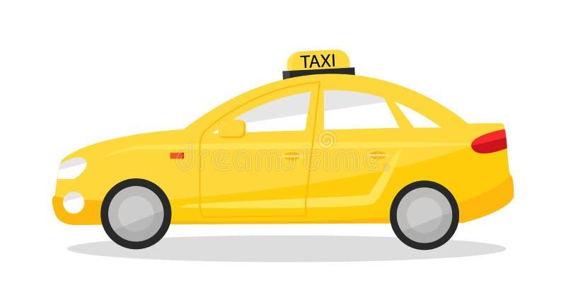 Yellow taxi car. Cab sedan isolated on white background.  royalty free illustration