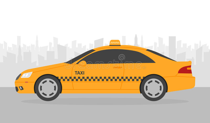 Yellow taxi car in front of city silhouette, illustration in simple flat design stock illustration