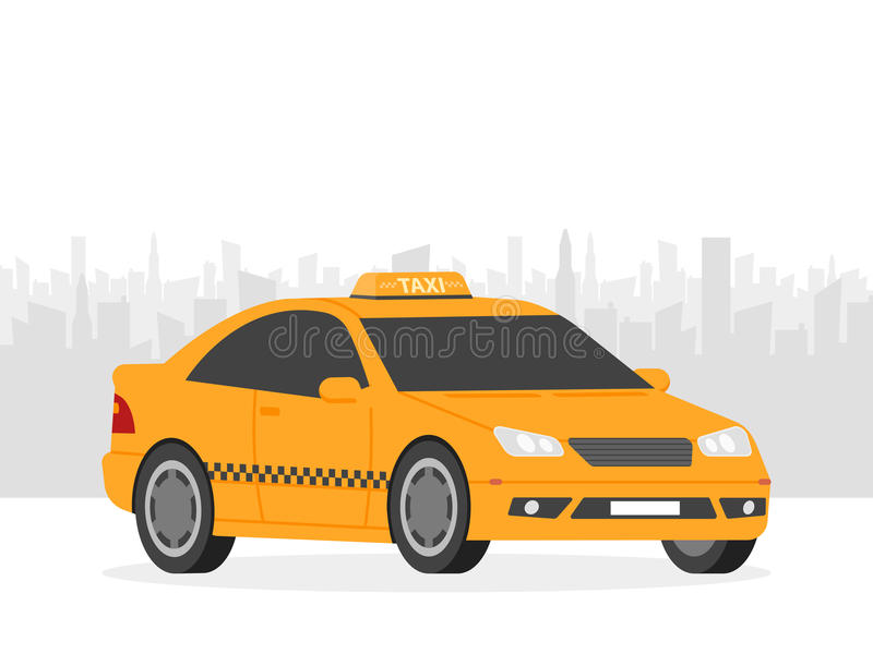 Yellow taxi car in front of city silhouette, illustration in simple flat design vector illustration
