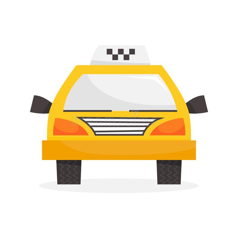 Yellow taxi car front view. Classic cab design. Transportation symbol or icon. Isolated vector illustration in cartoon style royalty free illustration