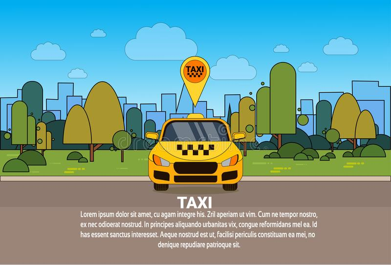 Yellow Taxi Car With Gps Location Pointer Online Cab Service Concept. Flat Vector Illustration stock illustration