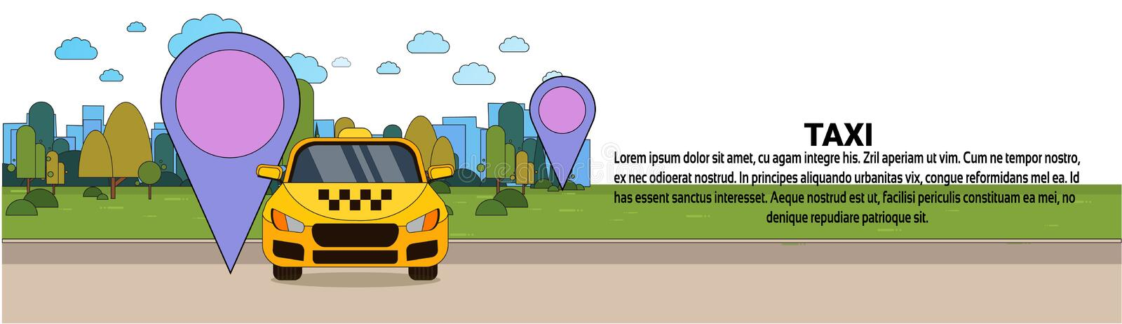 Yellow Taxi Car With Gps Location Pointer Online Cab Service Concept Horizontal Banner. Flat Vector Illustration vector illustration
