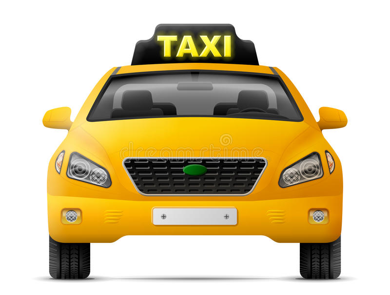 Yellow taxi car isolated on white background. Modern taxi cab, front view. Qualitative vector image about transport, taxi service, transfer, passenger royalty free illustration