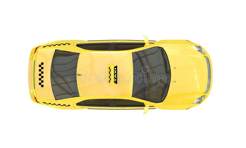 Yellow taxi car isolated on a  white background. Top view. 3D rendering stock illustration