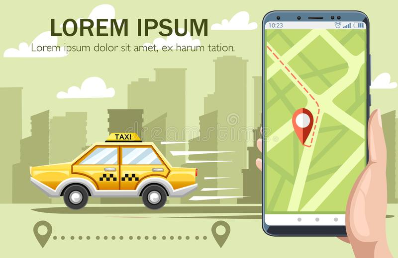 Yellow taxi car. Taxi service concept. Flat  illustration with city on landscape. Hand holding smartphone with app, map on. Display, destination way. Green stock illustration