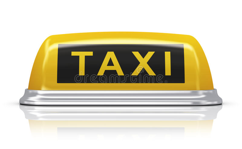 Yellow taxi car sign. Yellow taxi car roof sign isolated on white background with reflection effect royalty free illustration